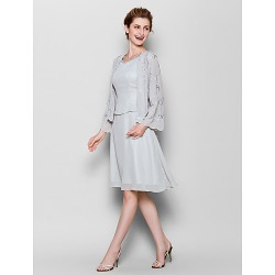 Sheath Column Plus Sizes Petite Mother of the Bride Dress Silver Knee Length Long Sleeve Chiffon