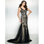 Formal Evening Dress - Black Trumpet/Mermaid V-neck Sweep/Brush Train Tulle Special Occasion Dresses