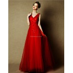 Formal Evening Dress - Burgundy Plus Sizes A-line V-neck Floor-length Tulle Special Occasion Dresses
