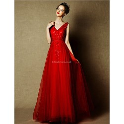 Formal Evening Dress - Burgundy Plus Sizes A-line V-neck Floor-length Tulle