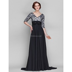 A Line Plus Sizes Petite Mother Of The Bride Dress Black Sweep Brush Train Half Sleeve Chiffon Lace