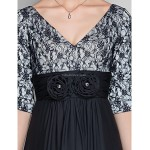 A-line Plus Sizes / Petite Mother of the Bride Dress - Black Sweep/Brush Train Half Sleeve Chiffon / Lace Mother Of The Bride Dresses