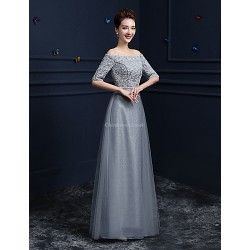 Formal Evening Dress Silver Sheath Column Off The Shoulder Floor Length Lace Satin Tulle