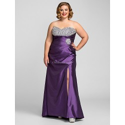 Formal Evening / Prom / Military Ball Dress - Grape Plus Sizes / Petite Sheath/Column Sweetheart Floor-length Taffeta