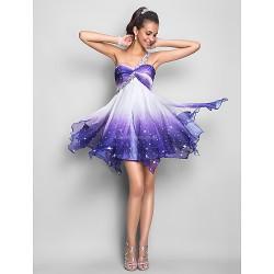 Cocktail Party Prom Sweet 16 Dress Print Plus Sizes Petite A Line Princess One Shoulder Short Mini Chiffon