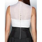 Formal Evening Dress - Ivory / Black A-line V-neck Ankle-length Organza / Taffeta Special Occasion Dresses
