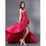TS Couture Cocktail Party / Formal Evening / Military Ball Dress - Fuchsia Plus Sizes / Petite A-line Strapless Court Train Sequined / Taffeta Special Occasion Dresses
