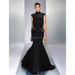 Formal Evening Dress Black Plus Sizes Petite Trumpet Mermaid High Neck Sweep Brush Train Chiffon