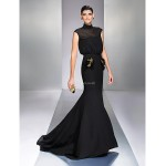 TS Couture Formal Evening Dress - Black Plus Sizes / Petite Trumpet/Mermaid High Neck Sweep/Brush Train Chiffon Special Occasion Dresses
