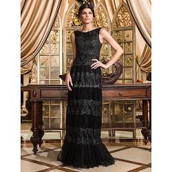 Formal Evening / Prom / Military Ball Dress - Black Plus Sizes / Petite Sheath/Column Scoop Floor-length Tulle