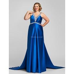 Military Ball / Formal Evening Dress - Royal Blue Plus Sizes / Petite A-line Halter / V-neck Floor-length Satin
