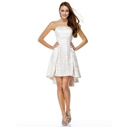 Cocktail Party Dress - Ivory A-line Strapless Asymmetrical Lace