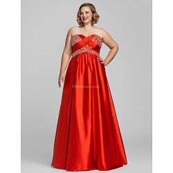 Dress Ruby Plus Sizes Petite A Line Princess Sweetheart Strapless Floor Length Charmeuse