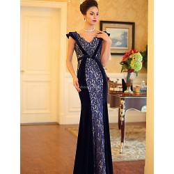 Formal Evening Dress Dark Navy Plus Sizes Trumpet Mermaid V Neck Floor Length Satin