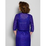 Sheath/Column Plus Sizes / Petite Mother of the Bride Dress - Regency Tea-length 3/4 Length Sleeve Lace Mother Of The Bride Dresses