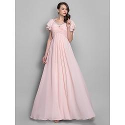 Formal Evening / Prom / Military Ball Dress - Pearl Pink Plus Sizes / Petite A-line / Princess V-neck Floor-length Chiffon