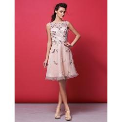 Cocktail Party Dress Pearl Pink Plus Sizes Petite A Line Princess Bateau Knee Length Organza