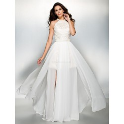 Formal Evening Dress Ivory A Line Jewel Floor Length Chiffon Lace