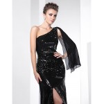 TS Couture Formal Evening Dress - Black Plus Sizes / Petite Trumpet/Mermaid One Shoulder Sweep/Brush Train Sequined Special Occasion Dresses