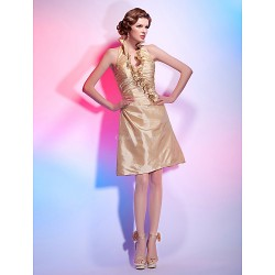 Cocktail Party Holiday Dress Champagne Plus Sizes Petite A Line Princess Halter V Neck Knee Length Taffeta