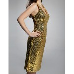 Cocktail Party / Holiday Dress - Gold Plus Sizes / Petite Sheath/Column V-neck Knee-length Sequined Special Occasion Dresses