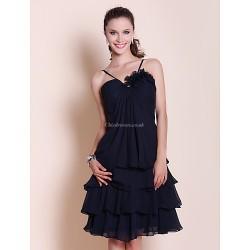 Knee Length Chiffon Bridesmaid Dress Dark Navy Plus Sizes Petite A Line Princess Sweetheart Spaghetti Straps