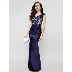 Formal Evening Dress - Dark Navy Trumpet/Mermaid Strapless Floor-length Lace / Satin