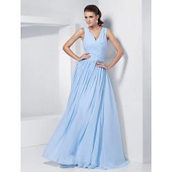 Formal Evening Prom Military Ball Dress Sky Blue Plus Sizes Petite A Line Princess V Neck Floor Length Chiffon