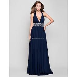 Formal Evening Prom Military Ball Dress Dark Navy Plus Sizes Petite Sheath Column V Neck Halter Floor Length Chiffon
