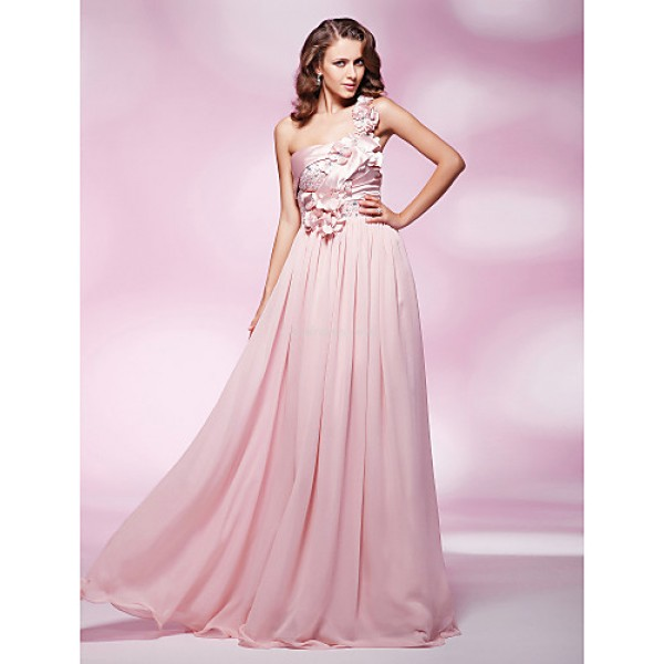 TS Couture Prom / Military Ball / Formal Evening Dress - Blushing Pink Plus Sizes / Petite Sheath/Column One Shoulder Floor-lengthChiffon / Stretch Special Occasion Dresses