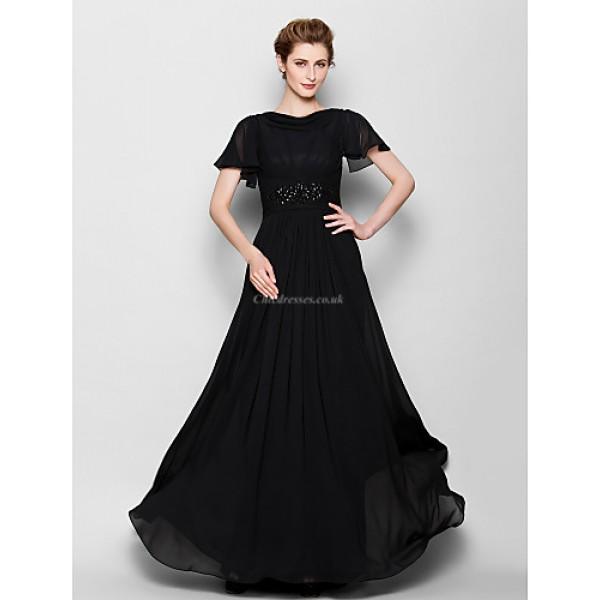 A-line Plus Sizes / Petite Mother of the Bride Dress - Black Floor-length Short Sleeve Chiffon Mother Of The Bride Dresses