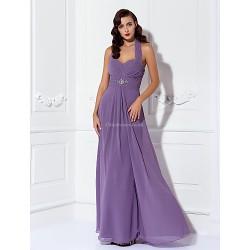 Floor Length Chiffon Bridesmaid Dress Purple Plus Sizes Petite Sheath Column Halter