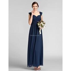 Floor Length Chiffon Bridesmaid Dress Dark Navy Plus Sizes Petite Sheath Column Sweetheart