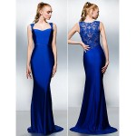 TS Couture Formal Evening Dress - Royal Blue Plus Sizes / Petite Trumpet/Mermaid Queen Anne Sweep/Brush Train Jersey Special Occasion Dresses
