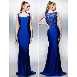 Formal Evening Dress Royal Blue Plus Sizes Petite Trumpet Mermaid Queen Anne Sweep Brush Train Jersey