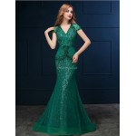 Formal Evening Dress - Clover Trumpet/Mermaid V-neck Sweep/Brush Train Lace Special Occasion Dresses