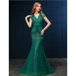 Formal Evening Dress - Clover Trumpet/Mermaid V-neck Sweep/Brush Train Lace