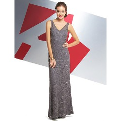 Formal Evening Dress Silver Trumpet Mermaid V Neck Ankle Length Lace