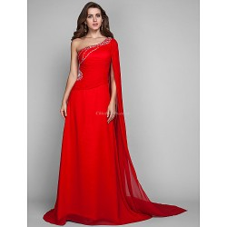 Military Ball Formal Evening Dress Ruby Plus Sizes Petite Sheath Column One Shoulder Sweep Brush Train Chiffon