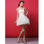 Cocktail Party Dress - Ivory Plus Sizes / Petite Ball Gown Sweetheart Short/Mini Organza Special Occasion Dresses