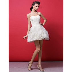 Cocktail Party Dress Ivory Plus Sizes Petite Ball Gown Sweetheart Short Mini Organza