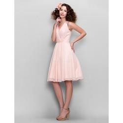 Knee Length Chiffon Bridesmaid Dress Blushing Pink A Line V Neck