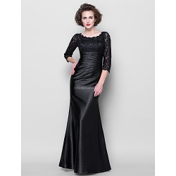 Trumpet Mermaid Plus Sizes Petite Mother Of The Bride Dress Black Floor Length 3 4 Length Sleeve Lace Stretch Satin