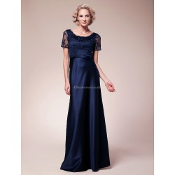 Sheath Column Plus Sizes Petite Mother Of The Bride Dress Dark Navy Floor Length Short Sleeve Lace Satin