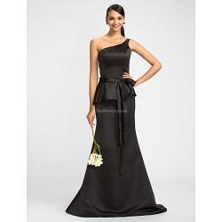 Dress Black Plus Sizes Petite Trumpet Mermaid One Shoulder Floor Length Satin