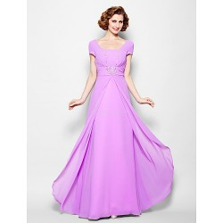 A-line Plus Sizes / Petite Mother of the Bride Dress - Lilac Floor-length Short Sleeve Georgette