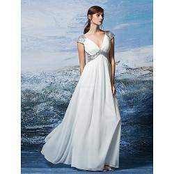 Formal Evening Dress Ivory Plus Sizes Petite Sheath Column V Neck Floor Length Sequined Georgette
