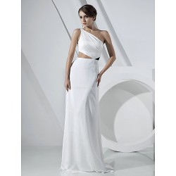 Formal Evening Dress Ivory Plus Sizes Petite Sheath Column One Shoulder Floor Length Chiffon Stretch Satin