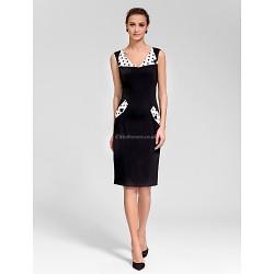 Cocktail Party Dress - Black Sheath/Column V-neck Knee-length Polyester