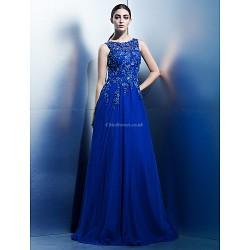Formal Evening Dress Royal Blue A Line Scoop Floor Length Chiffon